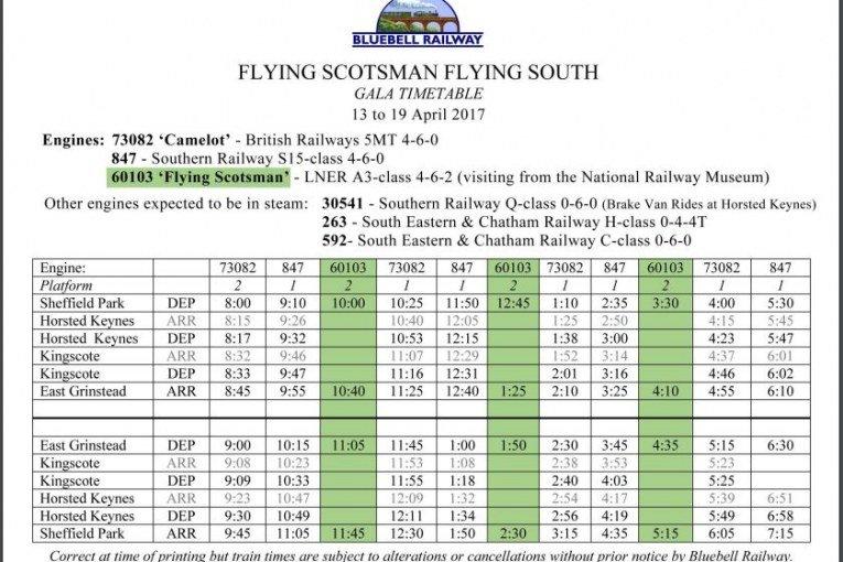 Flying Scotsman timetable