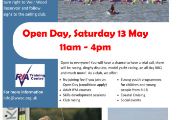 Open Day at Weir Wood Sailing Club at Forest Row on Saturday 13 May
