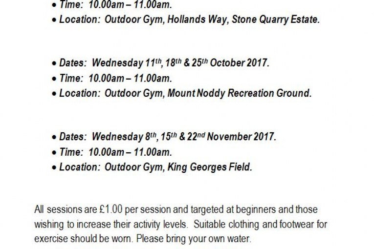 Outdoor gym sessions for the over 50s