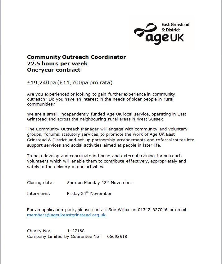 Age UK EG & District: Community Outreach Coordinator
