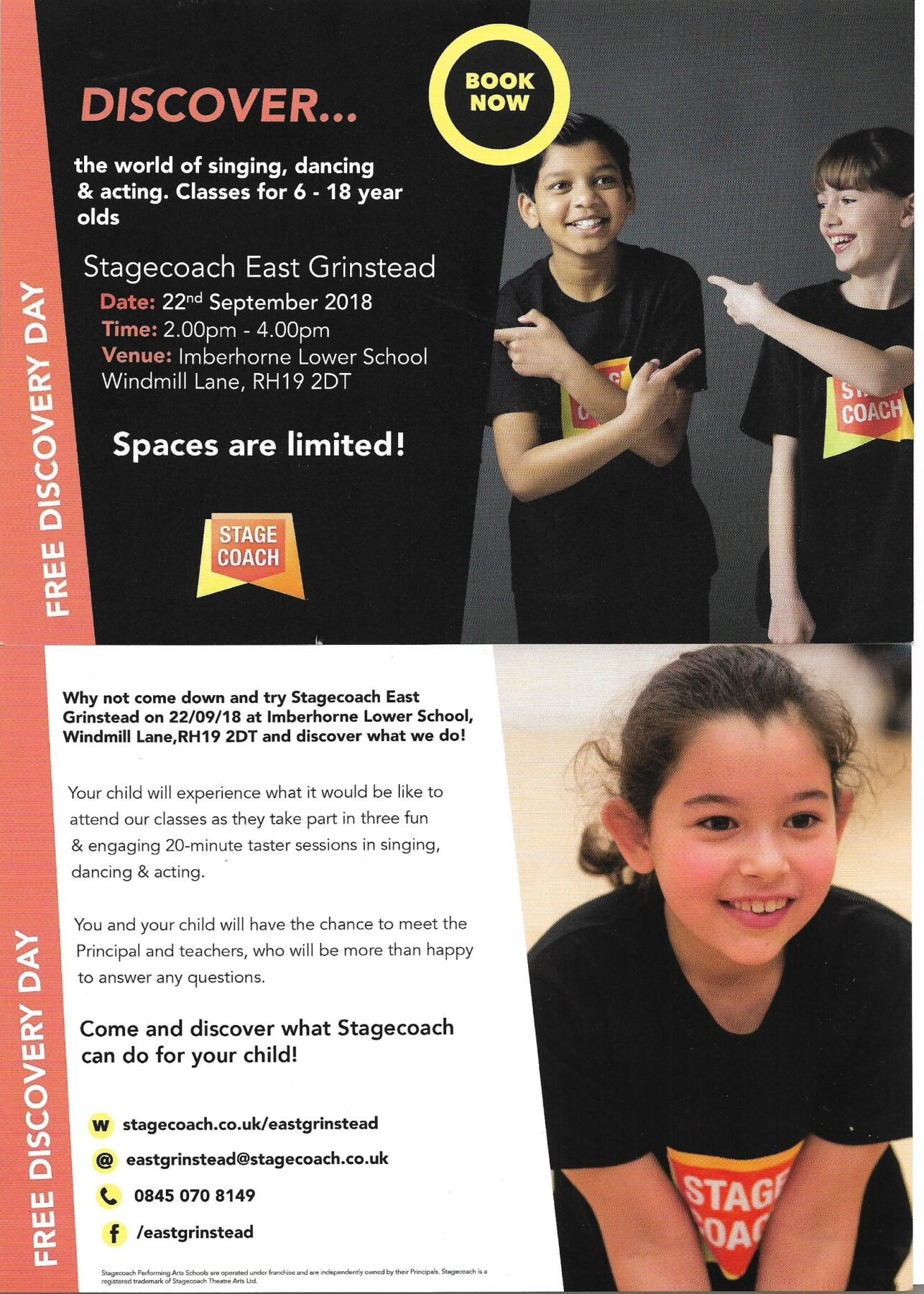 Free Discovery Session as Stagecoach launches new afternoon school in East Grinstead