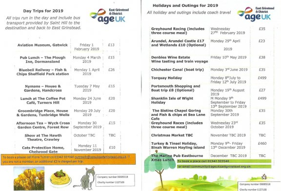 Age Uk Day Trips & Holidays 2019