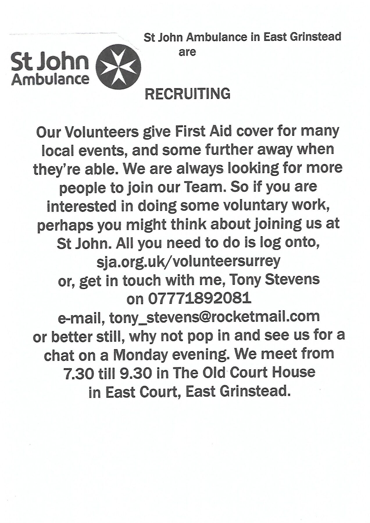 St. John Ambulance Are Recruiting